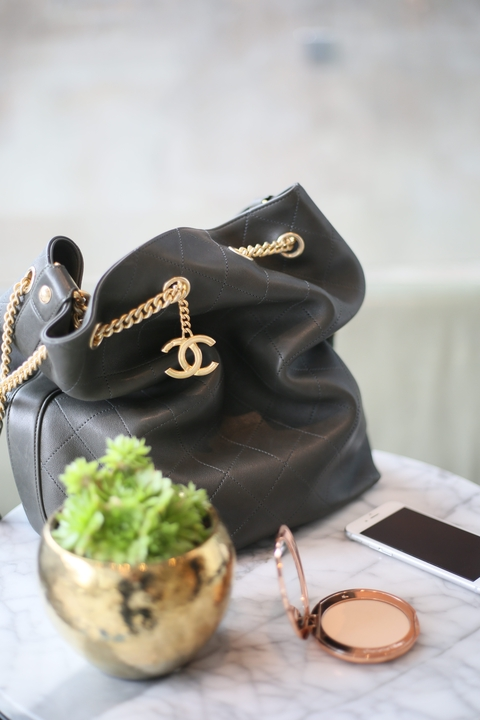 chanel bucket bag in olive