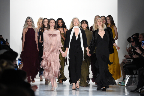 NEW YORK, NY - FEBRUARY 09:  Erin Fetherston and models walk the runway after Erin Fetherston show during New York Fashion Week Gallery 3, Skylight Clarkson Sq on February 9, 2017 in New York City.  (Photo by Peter White/WireImage)